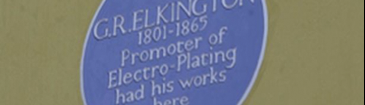 Blue plaque indicating location of Elkington factory