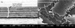 Fig. 7: Scanning electron microscope images of a) cross section view of (Co-Ni)2/4/10 coating and b) surface morphology of CMM coating after corrosion tests