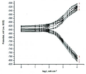 Fig. 8: Galvanostatic polarization curves for dissolution of zinc in 0.1 M HCl in absence and presence of different concentrations of compound (b) at 30 oC. 1) Blank, 2) 1x10-6 M, 3) 3x10-6 M, 4) 5x10-6 M, 5) 7x10-6 M, 6) 9x10-6 M, 7) 11x10-6 M