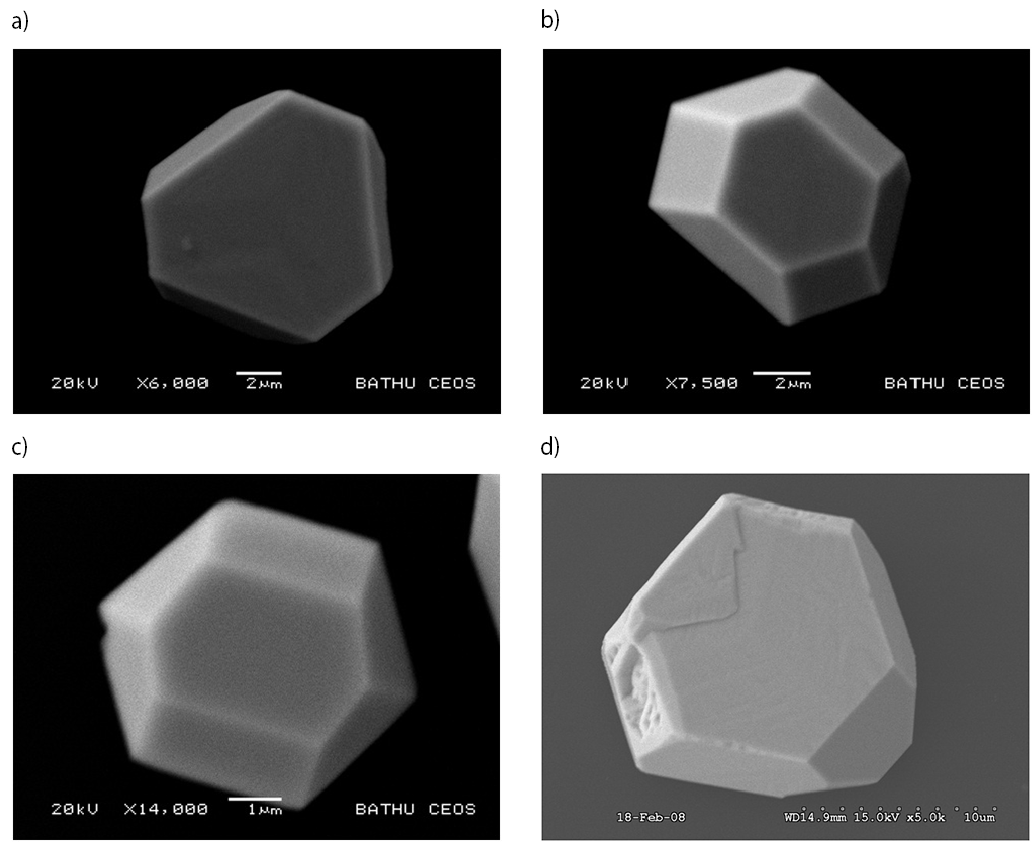 Fig. 5: SEM images of silver mesocrystals electrodeposited at E = –0.1 V from (a) 10mM AgNO3 for 60s, (b) 100mM AgNO3 for 30s, (c) 250mM AgNO3 for 10s and (d) 600mM AgNO3 for 5s