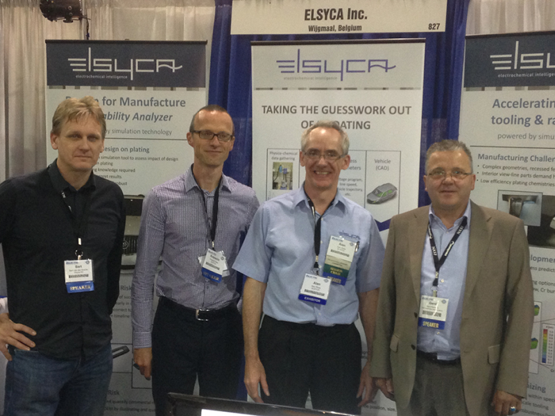 Fig. 5: From left to right (v.l.n.r.): Bart Van den Bossche, Engineering Manager, Elsyca HQ, Robrecht Belis, Manager Surface Finishing and E-Coating, Elsyca HQ, Alan Rose, Manager North America, Elsyca Inc., Gerd Reineck, Project Engineer Surface Technology, TRW Automotive Safety Systems