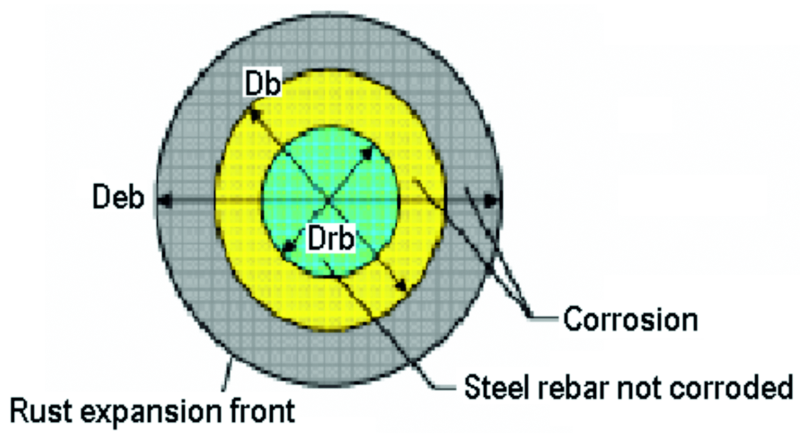 Fig. 8: Rust expansion front generated by corrosion [4]