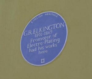 Blue plaque indicating location of Elkington factory