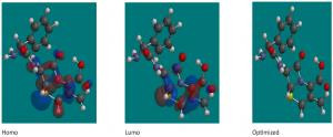 Fig. 13: The optimized molecular structures, HOMO, LUMO