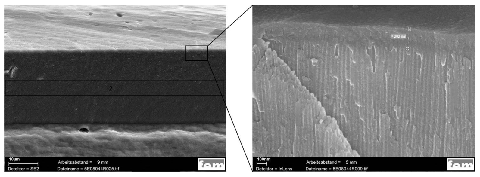 Fig. 6: Left: Fraction of the Ni-free cold sealed anodising layer; Right: Magnification of the upper area of the anodising layer showing a dense appearing and completely sealed surface