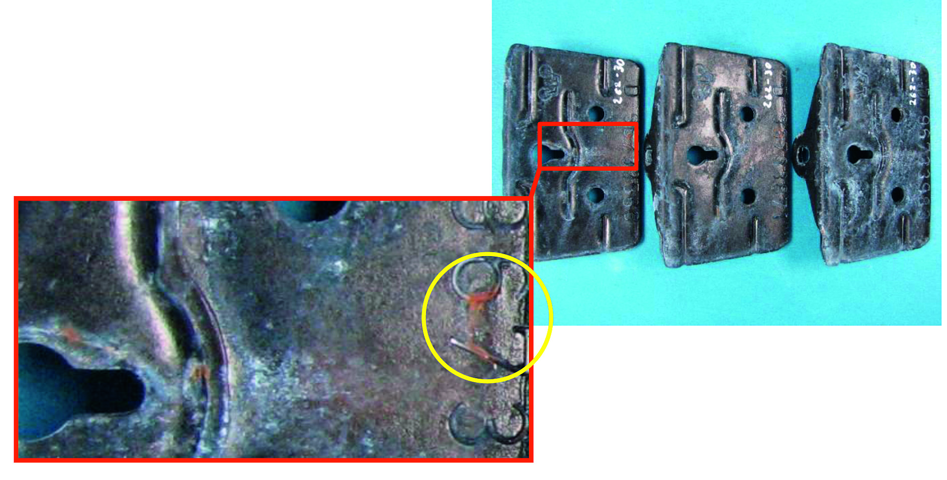 Fig. 2: Early red corrosion of ZnNi plated parts after 192 h NSST Parts are black passivates and sealed with an organic sealer. ZnNi layer contains > 16 % Ni
