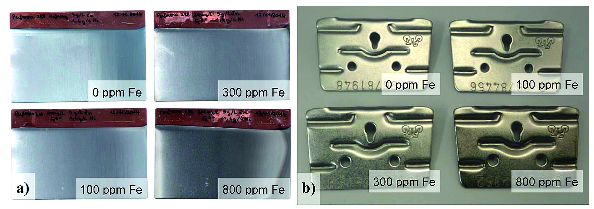 Fig. 3: Influence of iron addition on the aspect of Performa 288 ZnNi coatings, a) Hull cell panels plated with 2A for 30 min, b) Rack parts plated in a 50 L pilot line tank with 2 A/dm2 for 40 min