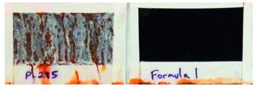 Fig. 10: Comparison between conventional ZnNi coating (left) and the new developed ZnNiFe coating (right), both passivated with a special chromium(III) based black passivate after 312 h NSST