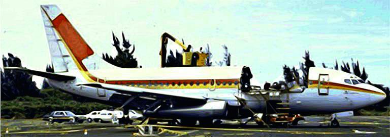 Fig. 3: Fuselage of Aloha Airlines Flight 243, 1988 [20]