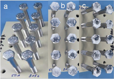 Fig. 24: M8x70 bolts tested according to Cyclic Corrosion Test VDA 233-102; as received (a), after 10 cycles (b), after 15 cycles (c)