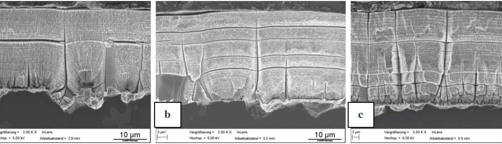 Fig. 3: Etched cross section of the coatings in the as deposited condition of (a) MTO 0, (b) MTO 2, (c) MTO 3.5; the substrate material is in the lower part of the picture. The coatings show the lamellar structure as well as some defects reaching from the substrate to the surface