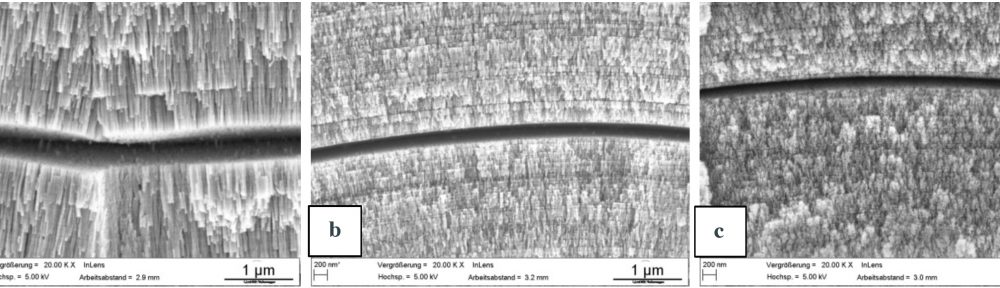 Fig. 4: Detail of the etched cross section of the coatings in the as deposited condition of (a) MTO 0, (b) MTO 2, (c) MTO 3.5; the columnar and lamellar structure can be seen. Both structures get less evident with increasing MTO