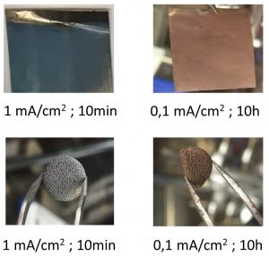 Fig. 10: Optical images of the electrodeposited Li on 2D Ni foil or 3D Ni foam substrates in 1 M LiPF6-PC electrolyte with different electrodeposition parameters
